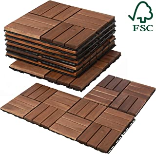 Mammoth Easy Lock Sustainably Sourced Solid Acacia Wood Oiled Finish Interlocking Deck Tiles, Water Resistant Outdoor Patio Pavers or Composite Deck Flooring, Pack of 11 (11 SQFT) (Checker (12 Slat))