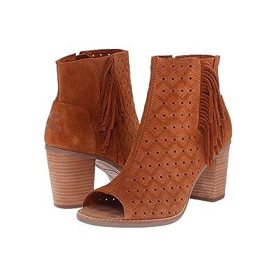 TOMS Majorca Peep Toe Bootie (Cinnamon Suede Perforated/Fringe) Women