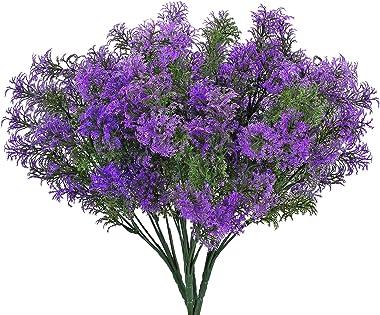 NAHUAA 4pcs Plante Artificielle Exterieur Violet Fausse Plante 7 Branches Fausse Plante Arbustes Buissons Intérieur Plante en