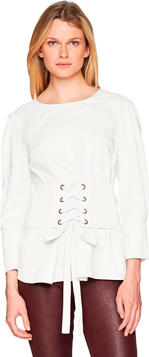 J.O.A. Womens Corset Detail Woven 3 4 Sleeve Lace Up Blouse Blouse