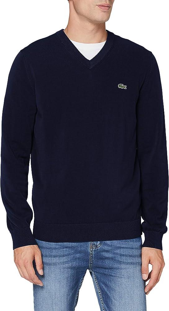 Lacoste,maglione con scollo a v per uiomo,in  jersey di cotone biologico al 100%. AH1951