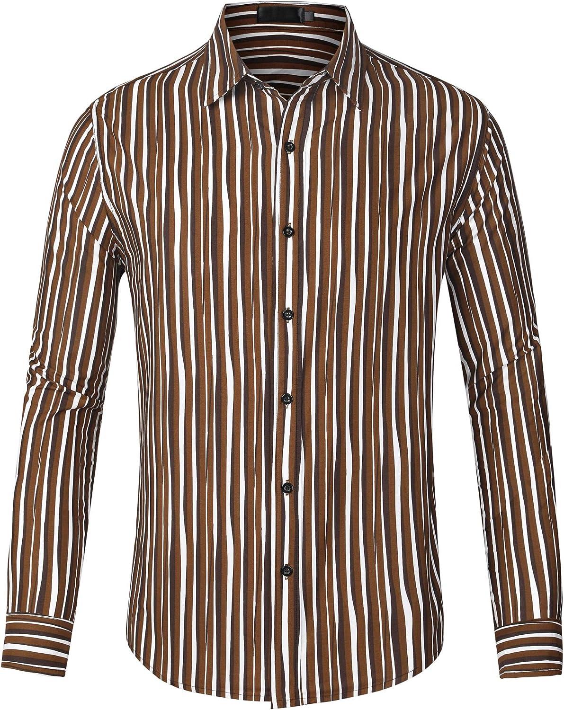 Lars Amadeus Men's Casual Business Long Sleeve Button Down Vertical Striped Dress Shirts