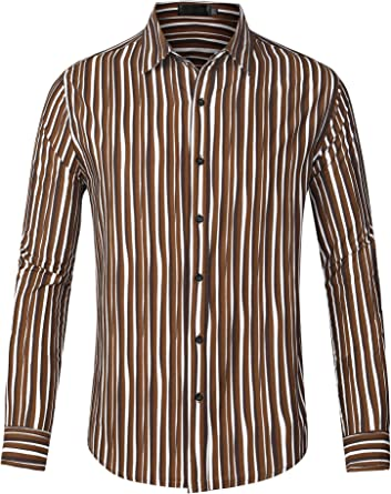 Lars Amadeus Camisas de Vestir de Rayas Verticales abotonadas ...