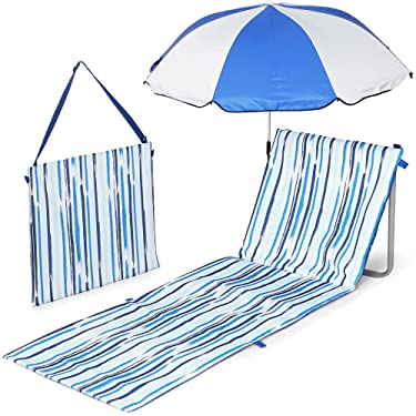 Scuddles Camping Picnic Mat & Picnic Blanket with Chair - Umbrella for Beach - Picnic Time Beachcomber Portable Beach Mat - Sand Resistant Beach Mat - Lightweight Comfortable Shoulder Carrying Strap