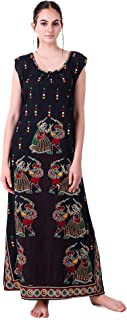 BOMBSHELL Sleeveless Best Printed Cotton Long Nighty for Women & Ladies(Bust Size Upto 44 inches)