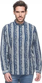Shatranj Men's Indian Short Kurta Tunic Banded Collar Printed Shirt