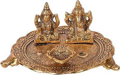 Collectible India Lakshmi Ganesh Idol Vastu Metal Diya for Puja, Home Decoration Items Diyas Gifts