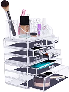 Internet's Best Acrylic Cosmetic Makeup Organizer | 3 Piece Display with Multi Drawers & Compartments for Lipstick, Bottles & Brushes | Jewelry Display & Drawers | Clear Display Rack Holder