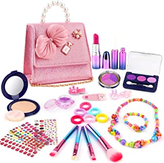 balnore 27 PCS Pretend Makeup Toy Set for Girls Safe & No-Toxic Makeup Kit for Kids Fake Make Up Kits Cosmetics Set with F...