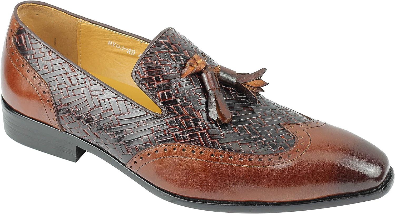 Mens Brown Real Leather Tassel Loafers 2 Tone Smart Formal Wingtip Brogue Slip on Dress shoes