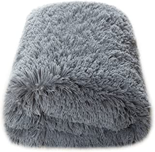 CaliTime Super Soft Blanket Throw for Couch Sofa Bed Elegant Cozy Plush Warm Faux Fur Solid Color 60 X 80 Inches Medium Grey
