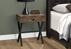 Monarch Specialties TABLE-24 H/BROWN RECLAIMED WOOD/BLACK METAL ACCENT, END TABLE, NIGHT STAND