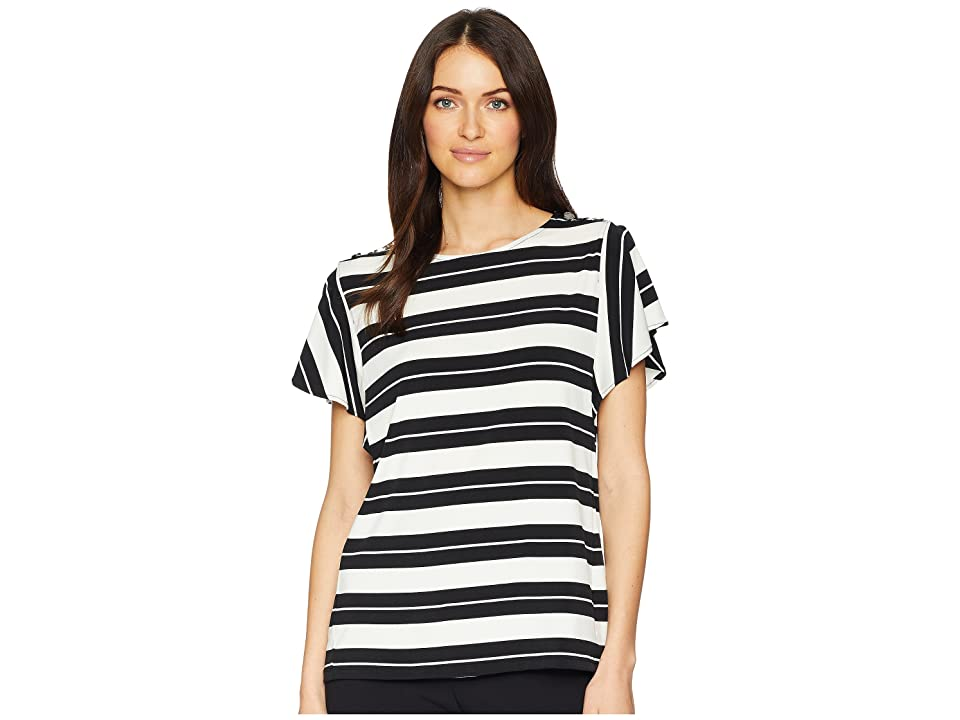 Calvin Klein Printed Flutter Sleeve Top w/ Buttons (Black/White) Women's Clothing