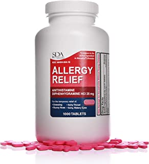 Allergy Relief Pills Diphenhydramine HCl 25mg 1000 Count | Relief for Itchy-Watery Eyes, Sneezing, Runny Nose | Indoor & Outdoor Allergies