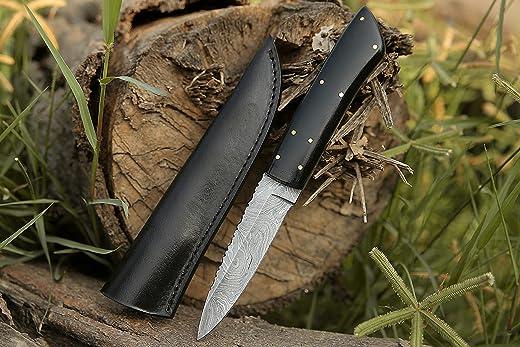 Damascus Steel Skinner Knife, Hunting Camping Survival Hiking EDC Micarta Sheath Handle Knife With Leather Sheath