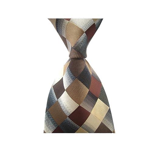 22079e6f2764 Secdtie Men's Classic Checks Dark Blue Grey Jacquard Woven Silk Tie Necktie