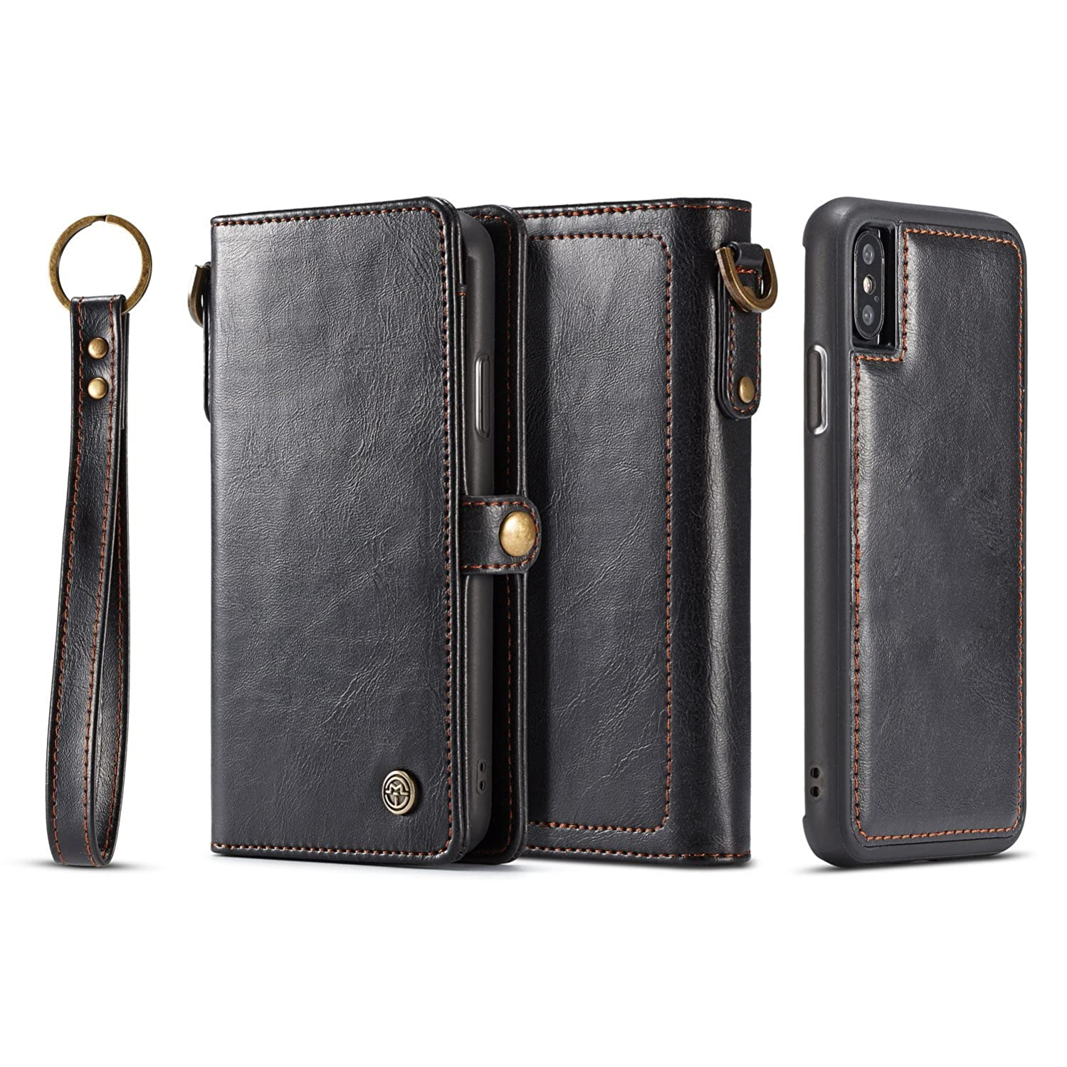 iPhone X/Xs Wallet Case,Premium PU Leather Multifunction Flip Folio Magnetic Card Slots with Detachable Fit Car Mount Case for iPhone X/Xs,5.8 inch (X-Black)