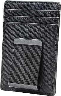 Money Clip Front Pocket Wallet Slim Minimalist Wallet RFID Blocking (01 carbon fiber elite)