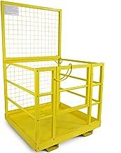 Titan Attachments Forklift Safety Cage Work Platform Lift Basket Aerial Fence Rails Yellow 2 man