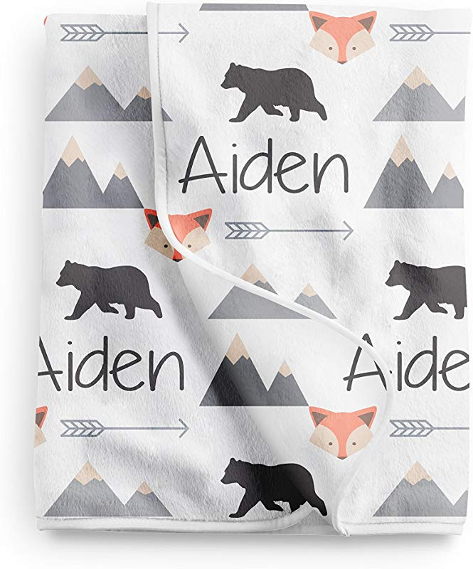 Personalize Baby Blanket Baby Name Blanket Black Bear Blanket Fox Blanket Tribal Blanket Baby Boy Blanket Mountain Blanket