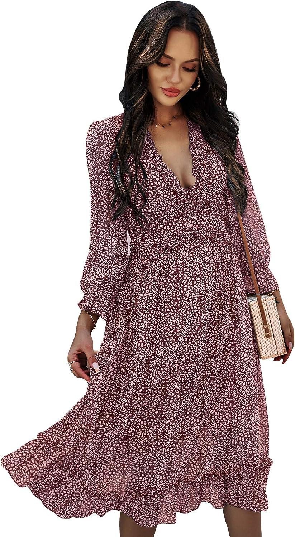 ROVLET Women Floral Long Sleeve Dresses Backl specialty Ranking TOP8 shop Neck V Ruffle Deep