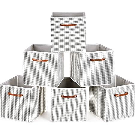 MaidMAX Casier Rangement, Cube de Rangement Tissu, Boite de Rangement Tissu, Tiroir Rangement, Panieres Rangement, avec Poignées en Bois, 26,6 x 26,6 x 27,9(cm), Lot de 6, Blanc Gris Polka Dot