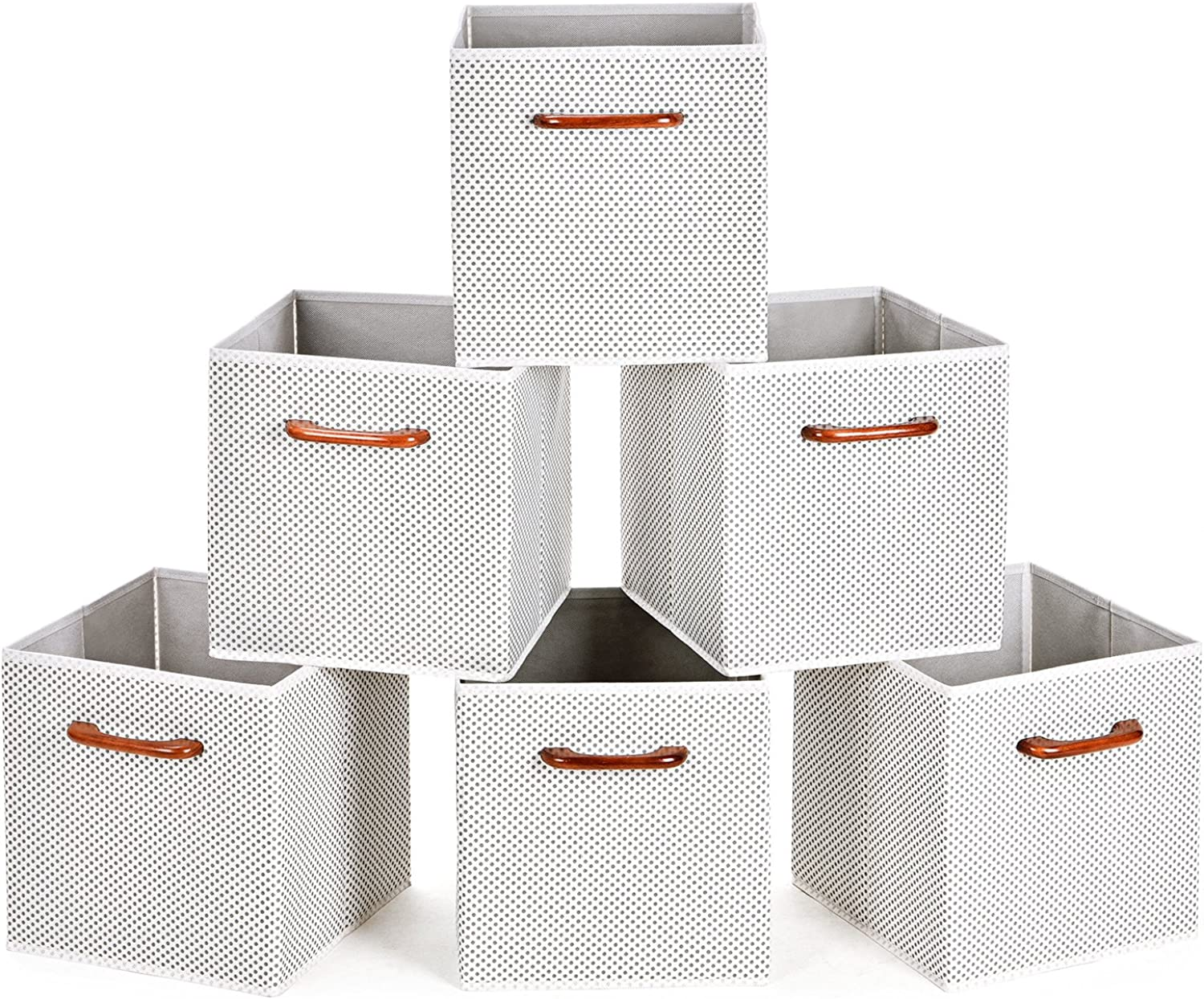MaidMAX Cloth Storage Bins Cubes Baskets Containers with Wooden Handles for Home Closet Bedroom Drawers Organizers, Foldable, Grey Polka Dot, Set of 6