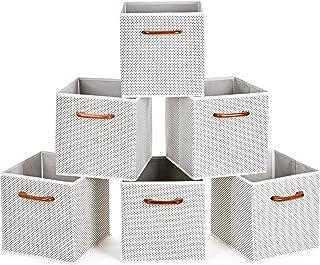 comprar comparacion MaidMAX Cajas de Almacenaje Decorativas, Cubos de Almacenamiento Plegables con Mango de Madera, Set de 6 Cajas Organizador...