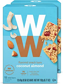 WW Coconut Almond Mini Bars - Snack Bar, 2 SmartPoints - 2 Boxes (24 Count Total) - Weight Watchers Reimagined