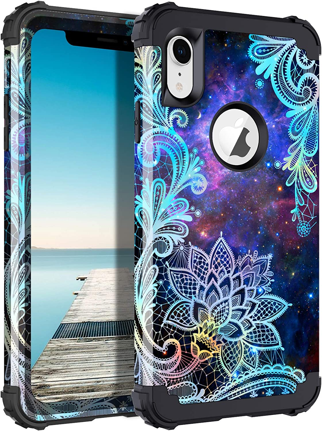 Casetego Compatible with iPhone XR Case,Floral Three Layer Heavy Duty Hybrid Sturdy Shockproof Protective Cover Case for Apple iPhone XR,Mandala
