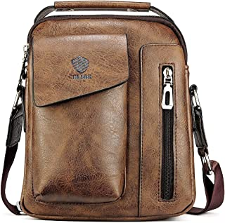Elios Coffee PU Leather Stylish Trendy Multi-Utility Crossbody Travel Work Wear Messenger Bag For Men