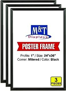 M&T Displays Snap Frame 24x36 Inch Poster Size, 1 Inch Black Color Aluminum Profile, Front Loading, Mitered Corner (3 Frames)