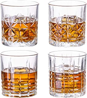 SUNNOW Vastto 11 Ounce Classic pattern Whiskey Glass,Cocktail Glasses for Bourbon, Scotch, Cocktail, Irish Whisky,Set of 4