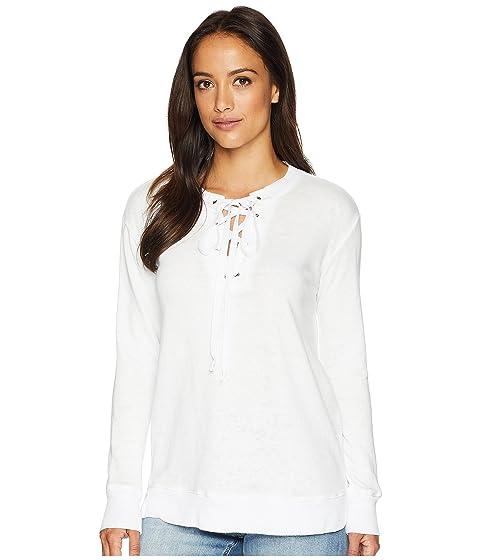 ALLEN ALLEN Lace-Up Sweatshirt, White