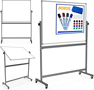Magnetic Mobile White Board Dry Erase Board Double Sided Whiteboard Rolling Wheels 4 Markers Eraser Magnets Ruler Large Writing Standing Easel Stand Easy Adjustable Flip Portable