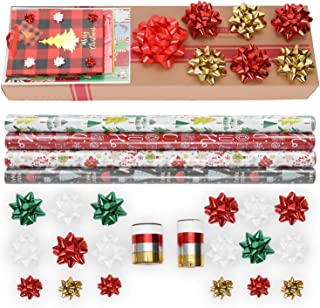 Sattiyrch Wrapping Paper Set: 4 Rolls of Premium Gift Wrap (147 sq. ft.) with 31 Coordinated Bows, 5 Ribbons, and 50 Gift Tags with 3pcs Bonus Euro Tote and 20pcs Tissue Paper