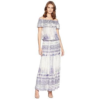 Hale Bob Moroccan Dreams Satin Off Shoulder Maxi Dress (Blue) Women