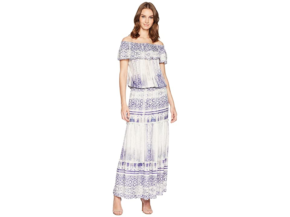 Hale Bob Moroccan Dreams Satin Off Shoulder Maxi Dress (Blue) Women