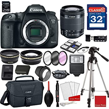 Canon EOS 7D Mark II (Wi-Fi) DSLR Camera with 18-55mm f/3.5-5.6 STM Lens + Professional Accessory Bundle
