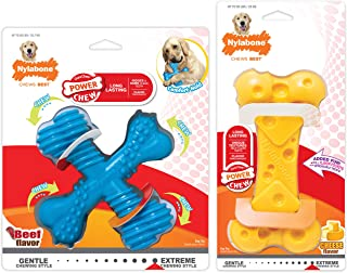 Nylabone Comfort Hold X Bone Power Chew Durable Dog Toy & DuraChew Cheese Bone Cheese Pack-in Bundle