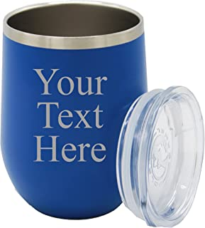Personalized Insulated Wine Tumbler - Custom Monogrammed Stemless Wine Cup - Your Text Here (Deep Blue)
