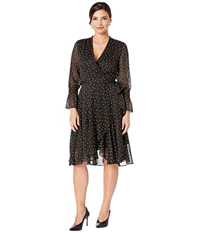 Tahari by ASL Long Sleeve Chiffon Polka Dot Mock Wrap (Black/White) Women