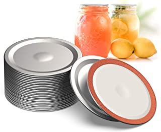 WTS Wide Mouth Canning Lids, 86mm Mason Canning Jar Lids, Leak Proof Split-Type Lids with Silicone Seals Rings. Wide Mouth...