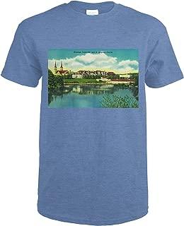 Spokane, Washington - Gonzaga University and St. Aloysius Church - Vintage Halftone 1141 (Heather Royal T-Shirt XX-Large)