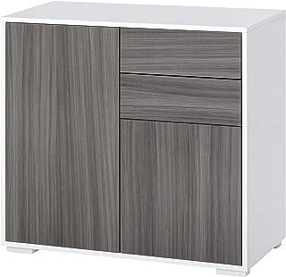HOMCOM Commode Buffet 2 tiroirs coulissants 2 Portes avec étagère Corps Blanc laqué façade Gris Imitation Bois