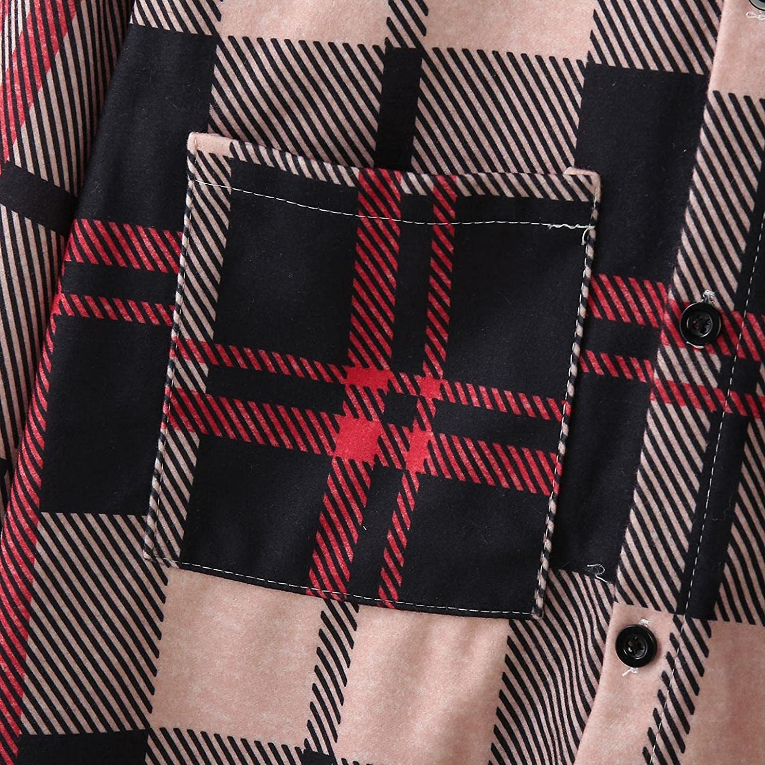 Huangse Men's Warm Sherpa Lined Fleece Plaid Flannel Shirt Jacket Casual Notch Lapel Single Breasted Mid Long Trench Coat