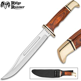 TIMBER WOLF Ridge Runner Gold Miner Fixed Blade Knife with Sheath - 3Cr13 Stainless Steel Blade, Wooden Handle, Brass Pommel and Guard - Length 12