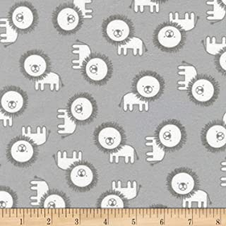 Robert Kaufman Penned Pals Flannel Fabric, Grey, Fabric By The Yard