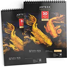 ARTEZA Spiral-Bound Black Sketch Pad, Heavyweight Paper, 11 X 14 Inches, 90lb/150gsm, 30 Sheets, Pack of 2, for Graphite & Colored Pencils, Charcoal, Oil Pastels, Gel Pens, Chalk