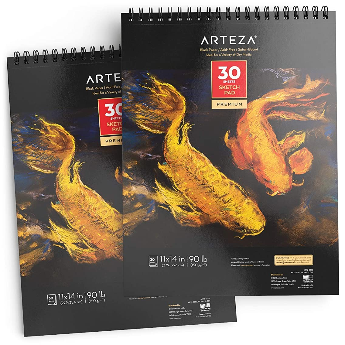 """ARTEZA 11X14"""" Black Sketch Pad, Pack of 2, 60 Sheets (90lb/150gsm), 30 Sheets Each, Spiral-Bound, Heavyweight Paper, Perfect for Graphite & Colored Pencils, Charcoal, Oil Pastels, Gel Pens, Chalk, Ink"""